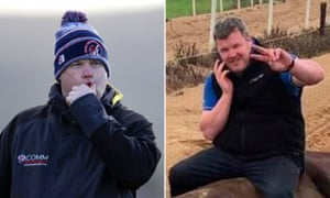 Gordon Elliott (left) and the photo of him (right) which has caused outrage.