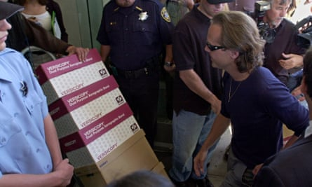 Lars Ulrich of Metallica arrives at the California offices of Napster in May 2000 to protest against its users sharing his music for free.