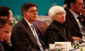 US Treasury secretary Jacob Lew and Federal Reserve chair Janet Yellen at the G20 finance ministers meeting on Friday. The IMF has urged the G20 to take 'bold action' on the global economy.