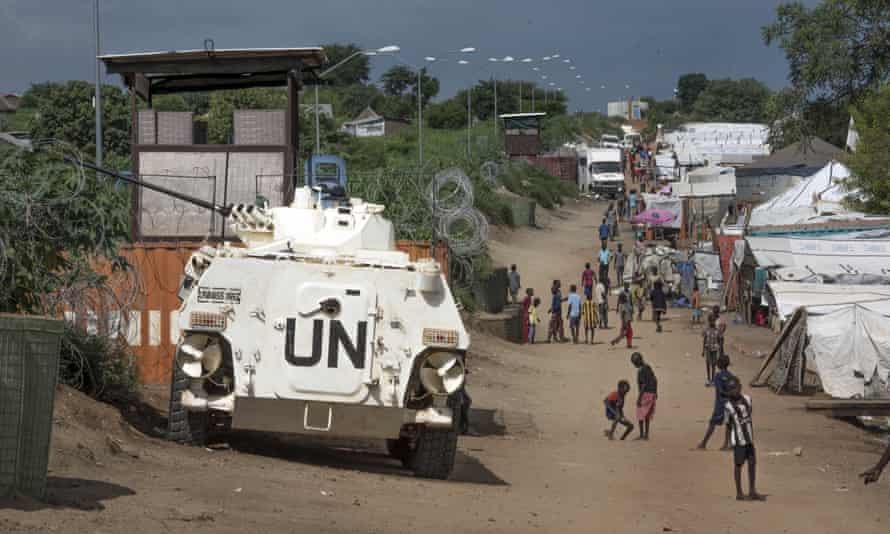 A UN armoured personnel vehicle in a refugee camp in Juba, South Sudan.
