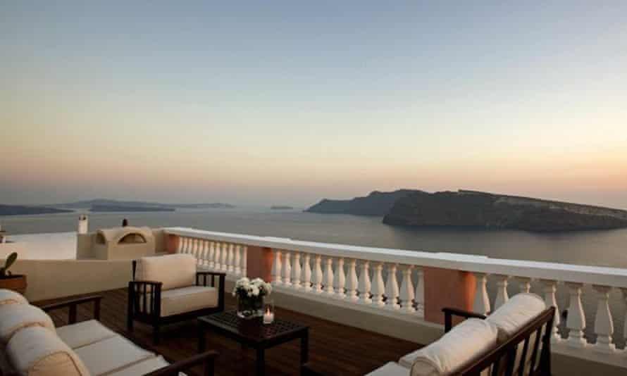 Balcony view from Oia Mansion, Santorini, Greece