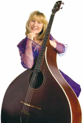 Hilary James with her bass mandolin