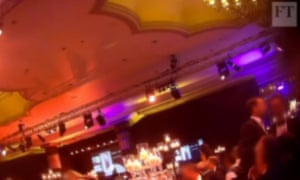 Screengrab of FT secret filming at Presidents Club charity event in London's Dorchester Hotel