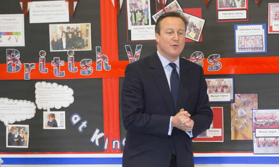 David Cameron discusses British values with schoolchildren in Oxfordshire on Friday.