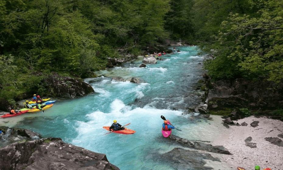 Kayaking near Camp Liza, Bovec