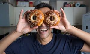 Rhik shows off his bagels.