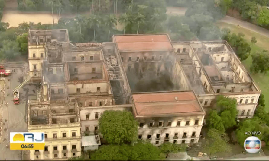A screengrab of aerial footage of the museum from Monday morning.