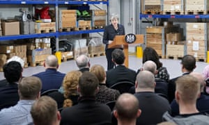 Theresa May delivers a speech on Brexit in Grimsby on 8 March