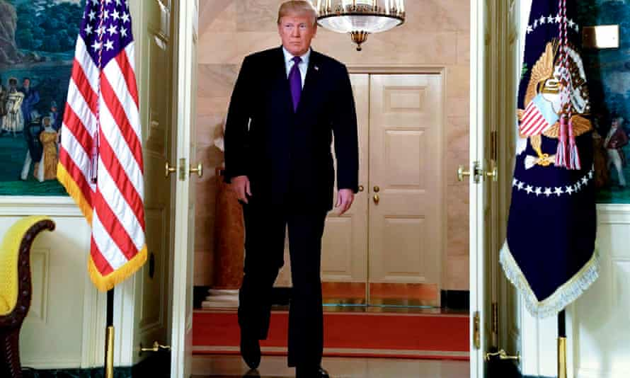US President Trump arrives to announce military strikes on Syria while delivering a statement from the White House in Washington.