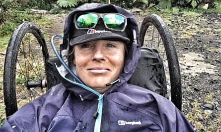 A self-taken photograph of paralympian Karen Darke during her hand-cycling tour of Patagonia.