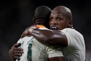 South Africa's hooker Bongi Mbonambi congratulates Makazole Mapimpi after he scored a try against Namibia at the City of Toyota Stadium.