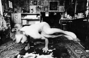 Vladimir Wiedemann practising yoga at home in Tallinn, Estonia, late 1970s.