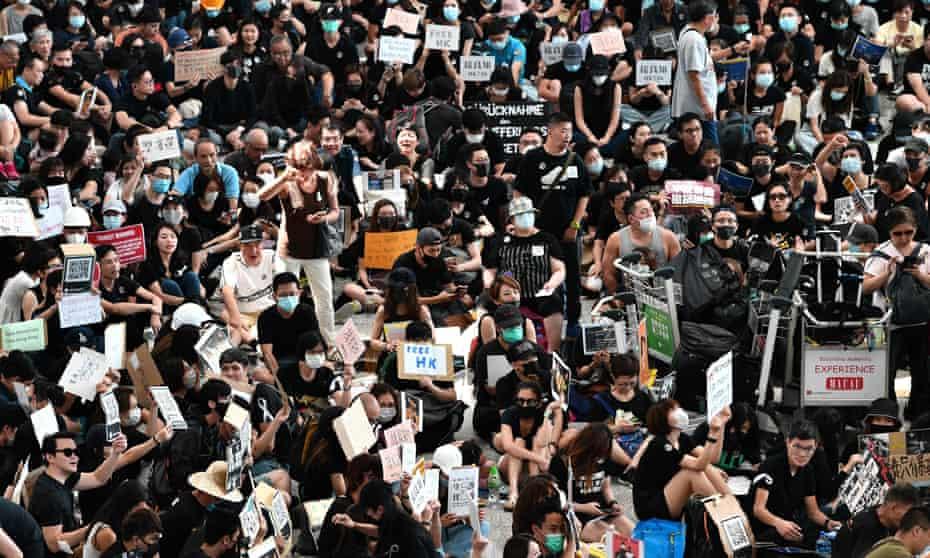 Protesters at Hong Kong airport on Friday.