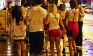 University of Brighton students enjoy the Carnage UK pub crawl in Brighton, East Sussex.