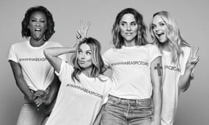 Members of the Spice Girls wearing #IWannaBeASpiceGirl T-shirts