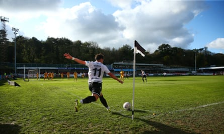 Jack Munns takes a corner for Dover in their FA Cup tie at home to Southend last November.