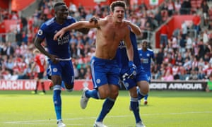 Leicester's Harry Maguire celebrates after scoring their second goal against Southampton.