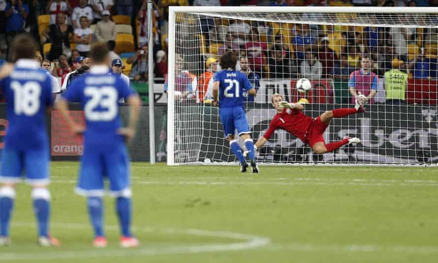 Andrea Pirlo clips an audacious Panenka penalty past Joe Hart at Euro 2012.