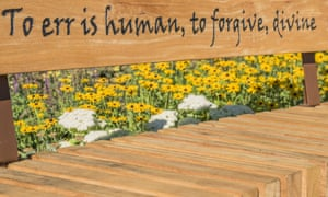 A bench bearing a quote from Alexander Pope's Essay on Criticism.