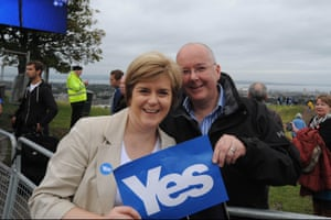 Scotland's first minister, Nicola Sturgeon, with her husband, Peter Murrell, at a Yes Scotland rally during the independence campaign.