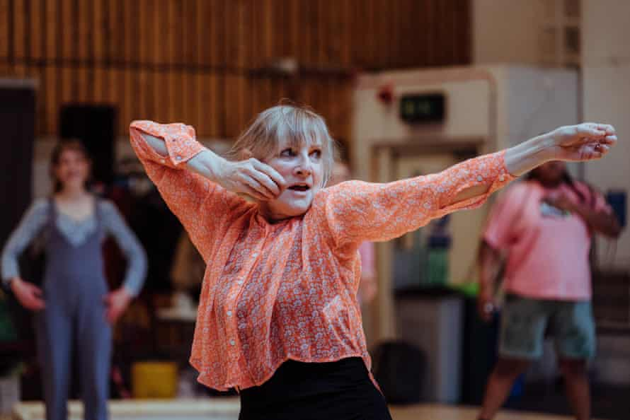 'The role is extraordinary – and usually a man gets to do it' … Lesley Sharp as Philoctetes in rehearsals.