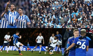 Brighton's Connor Goldson celebrates after scoring against Coventry, who brought 4,500 fans to the south coast; Leicester's Riyad Mahrez and Jamie Vardy, and Steve Davies scores Rochdale's late equaliser.