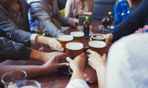 Drinkers in a pub