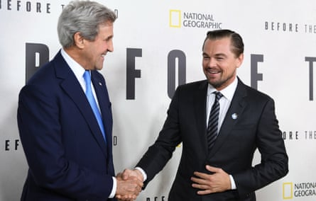 Kerry with Leonardo DiCaprio at a screening of Before the Flood in New York, 2016.