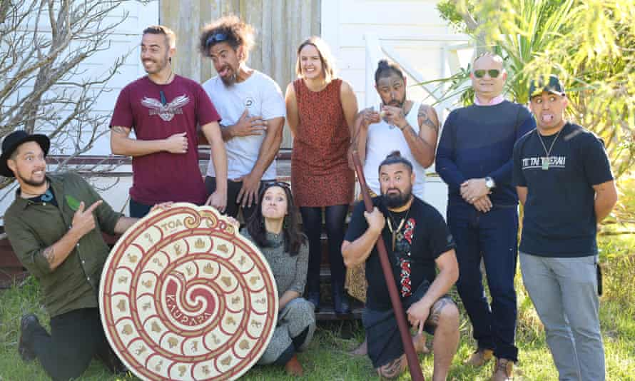New Zealand's Maori games enthusiasts: Kuruho Wereta (far left), Wiremu Sarich (third from left), Rosie Remmerswaal (middle), and Te Ahukaramū Charles Royal (second from right)