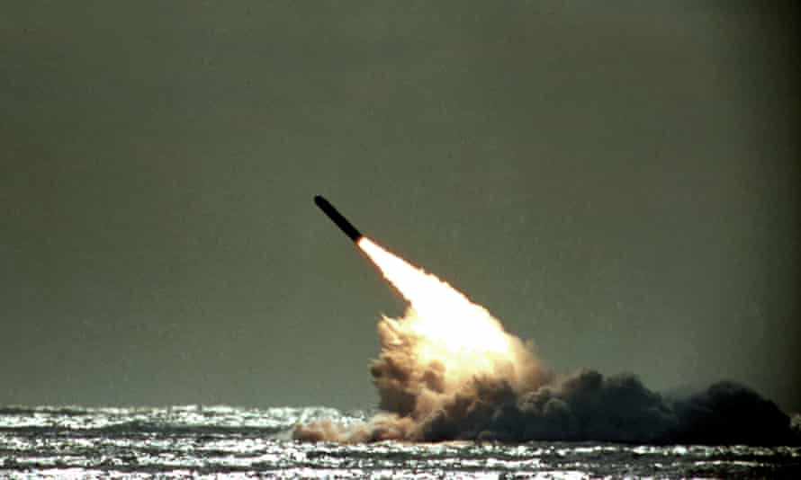 The US navy test-fires a nuclear-capable Trident II missile from the submerged submarine USS Tennessee in the Atlantic Ocean off the coast of Florida.