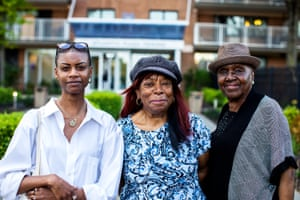 Residents Tranae Moran, Icemae Downes, and Pat Winston oppose the use of facial recognition cameras at the Atlantic Plaza Towers complex in Brooklyn, New York.