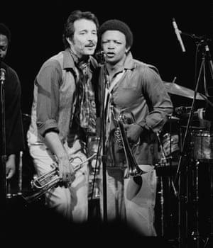 Hugh Masekela performing on stage with Herb Alpert 1978: the two collaborated on their Herb Alpert/Hugh Masekela album that year