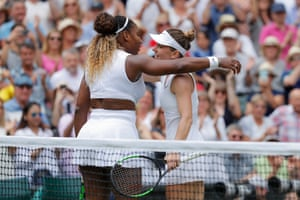 Serena Williams congratulates Simona Halep after the Romanian's dominant victory on Centre Court.