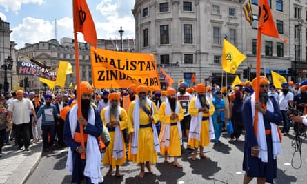 Sikhs in Trafalgar Square commemorate the June 1984 attack at the Golden Temple, Amritsar.