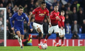 Marcus Rashford runs at the Chelsea defence, but could he be running at Spanish defences soon?
