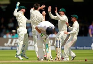 <strong>Day Three<br></strong>Ben Stokes slumps over his bat after being bowled by Australia's Mitch Marsh. Stokes and Cook added 145 but England are now back in big trouble.