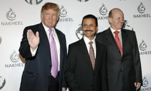 Donald Trump, left, Sultan Ahmed bin Sulayem of Dubai, centre, and the then Nakheel CEO, Chris O'Donnell, pose together in Dubai in 2008.