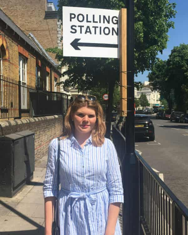 Astrid Hampe-Nathaniel at a polling station in London, after being denied a vote.