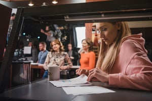 Catherine Tyldesley, who plays Eva, checks her script between takes.