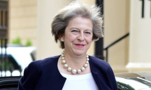 Theresa May arriving to give her speech on grammar schools.