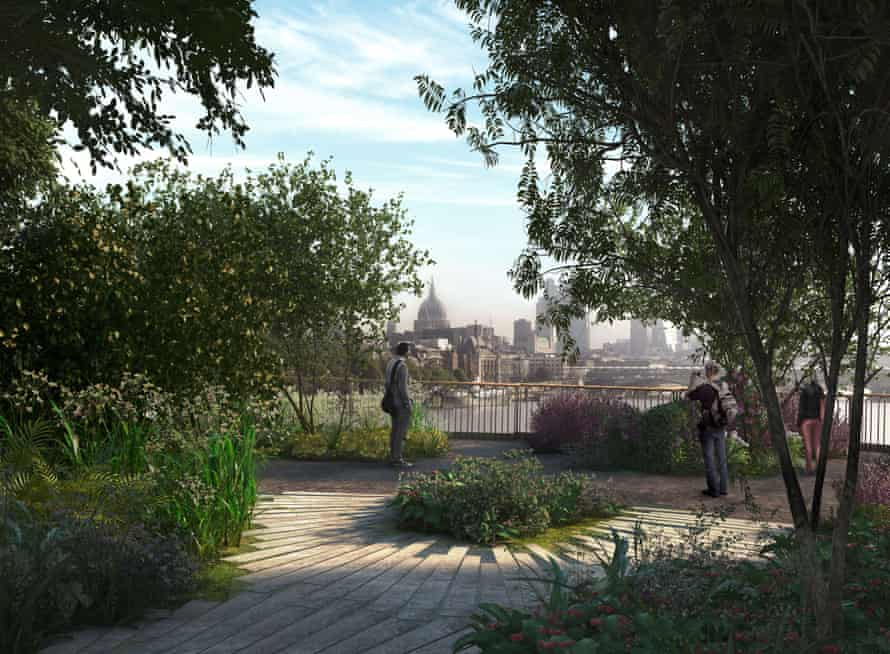 Fantasy forest … A view from the proposed £175m garden bridge.