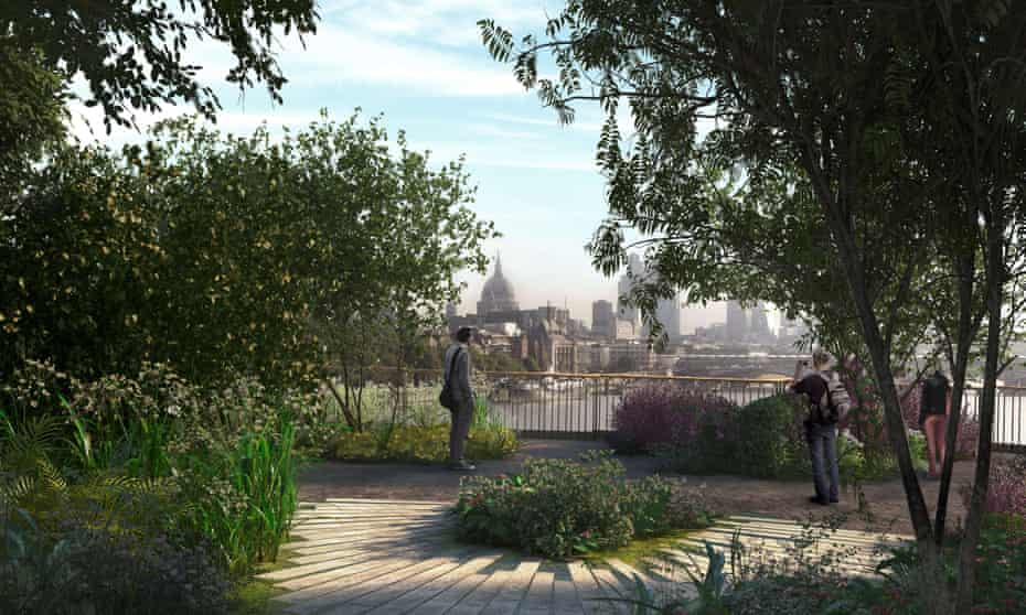 A CGI visualisation of the proposed garden bridge across the Thames in London.