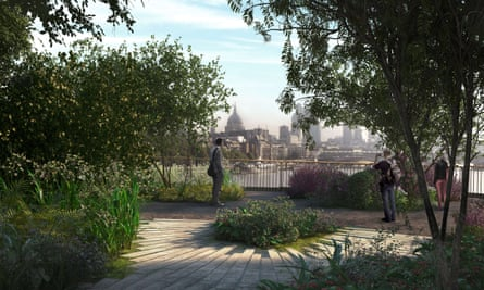A computer-generated image of the garden bridge