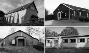 'Determinedly mundane' … clockwise from top left, St Andrews Hall, Charmouth; Ashill; South Perrott; and Bettiscombe village halls in the West Country.