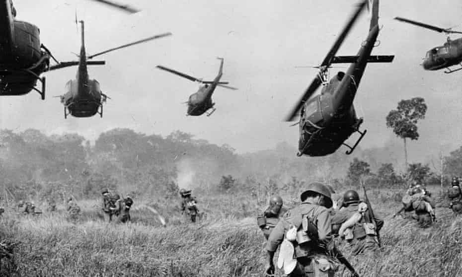 US Army helicopters cover the advance of South Vietnamese ground troops as they attack a Vietcong camp near the Cambodian border, 1965.