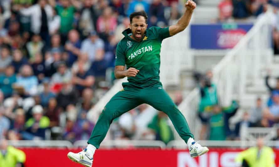 Pakistan's Wahab Riaz celebrates taking the wicket of Chris Woakes