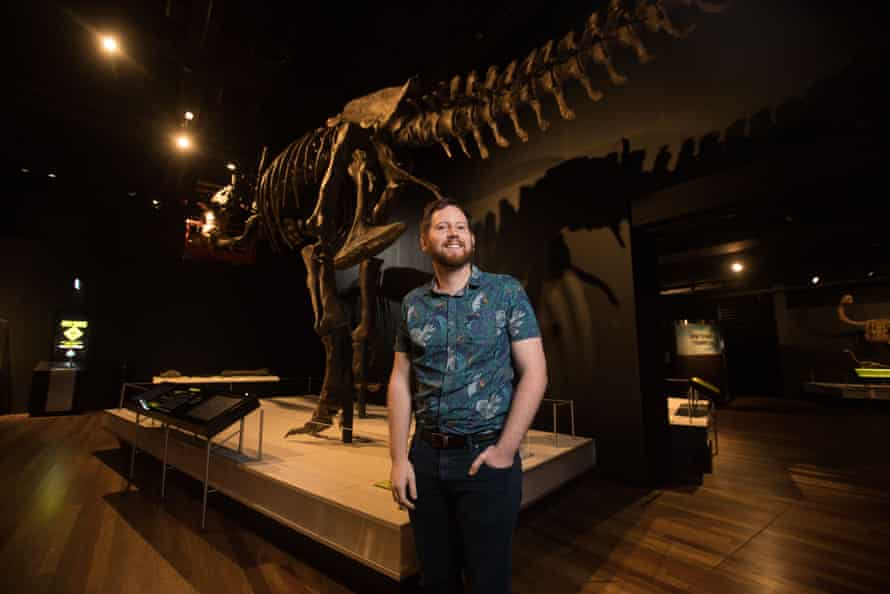 Australian Museum palaeontologist Matthew McCurry in the Tyrannosaurs - Meet the Family exhibition space.