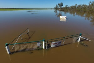 Chris Lamey's flooded property in 2016 in Goondiwindi, Queensland