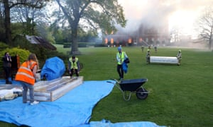 The salvage operation is under way at Clandon Park House