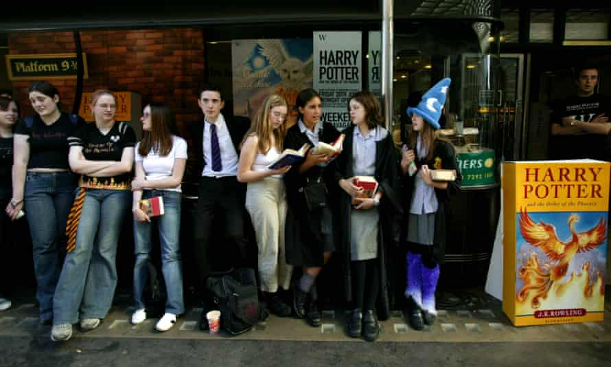 The magic of the queue ... Harry Potter fans in Piccadilly await the latest instalment